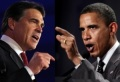 "Perry: ""Voter fraud."" Obama: ""Disinfranchising voters."" (photo Lauren Victoria Burke) (photo Lauren Victoria Burke)"