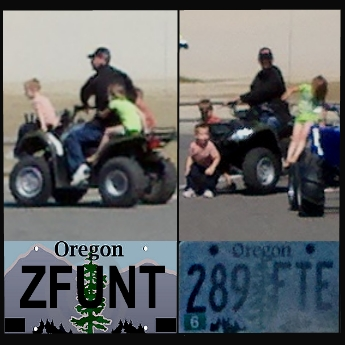 """8-23-12, near Winchester Bay, Oregon  The vehicles in this party include two Ford pickups, Oregon license plates numbers XXXXXX and personalized plate that reads: """"ZFUNT."""""""