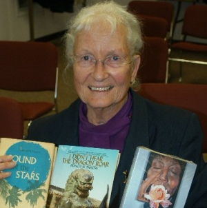 """Peggie"" Parsons holding three of her books (Photo: vad.org)"