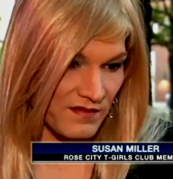 Booted patron Susan Miller talks to news media (Photo: KPTV-TV)
