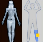 On the left is a simulated nude body scanner image. On the right is a newer generic image. The area in yellow alerts the TSA to a possible concealed weapon.