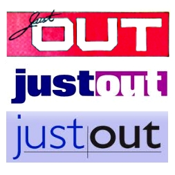 """Just Out"" logos throughout the years"